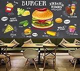3D Wandbild Tapete für Wohnzimmer Küche Burger Pommes