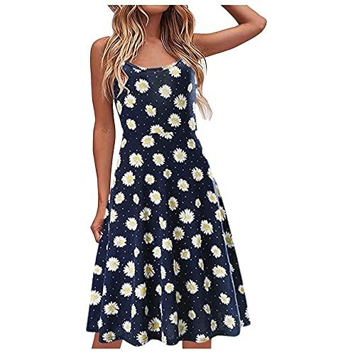 Nuevo 2021 Vestidos corto para Mujer, Moda Elegante Fiesta Vestido sin Manga Verano basic Casual Playa Vestidos Flores Impresión Cuello en V Vestidos Corta Vestido de tirantes Vestido de noche