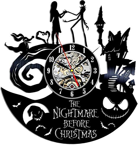 The Nightmare Before Christmas Jack and Sally Vinyl Wall Clock 12 in(30cm) Black Decor Modern Decorative Vinyl Record Wall Clock This Clock Is A Unique Gift To Your Friends And Family For Any Occasion