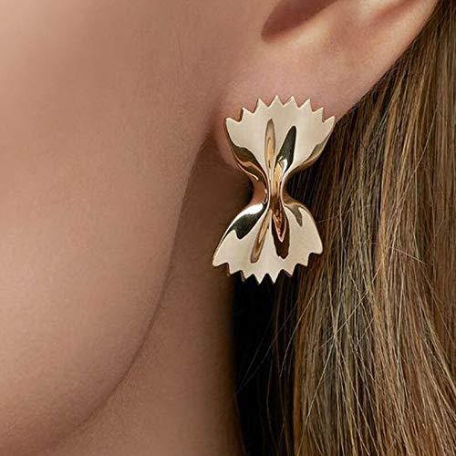 DFDLNL Pendientes de botón de Bowknot en Tono Dorado para Mujer, Pendientes de Origami Dulce, Pendientes de bisutería para Mujer