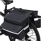 Bolsa Trasera para Bicicleta Multifuncional con Doble Bolsas Alforjas Traseras, Cesta Bicicleta Trasera Impermeable Doble Bolsa para Portaequipajes, Bolsa Lateral para Bicicletas MTB 20 L (Negro)