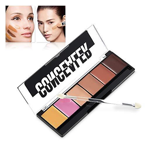 ❤️Vovotrade❤️❃❤️ 6 Couleurs 3D 3D Poudre Teint Maquillage Anti-cernes + 1PC Bâton éponge Nouveaux Couleurs Contour Imperméable Make-Up Powder Doux Hydratant Naturel Léger Longue Réparation Maquillage
