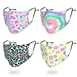 4 Pack Big Kids Reusable Face Mask, Cute Pattern Washable Breathable Cloth Face Mask Covers for Teens Boys Girls Age 7-16 (Unicorn, Tie Dye)