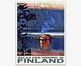 Finnland Reise-Poster Finnland Wall Art Skandinavisch (70 x