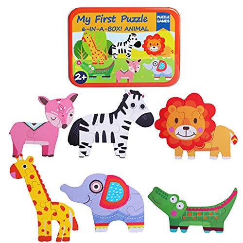 Jig Saw Puzzles, 6 en 1 Animales de dibujos animados de Tráfico de Madera Puzzle de Tráfico de la Primera Infancia Juguetes Educativos, Familia Interactiva Rompecabezas Juguete (A)