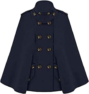 788fb871170 Etecredpow Womens Winter Double Breasted Cape Wool Blend Overcoat Peacoat