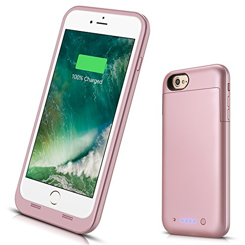 iPhone 7 Plus 8 Plus Battery Case, 7000mAh Extended Battery Power Charger for iPhone 8/7 Plus(5.5inch) Portable Rechargeable Backup Protective Charging Case/Lightning Port Input-Rose Gold