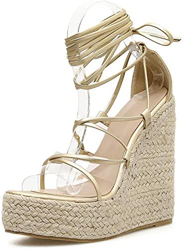HTYY Plataforma para Mujer Cuñas Lace Up Sandals Classic Tobillo Correa Zapatos Abre Toe Casual Moda Espadrille Sandalia 35-42-38_Oro