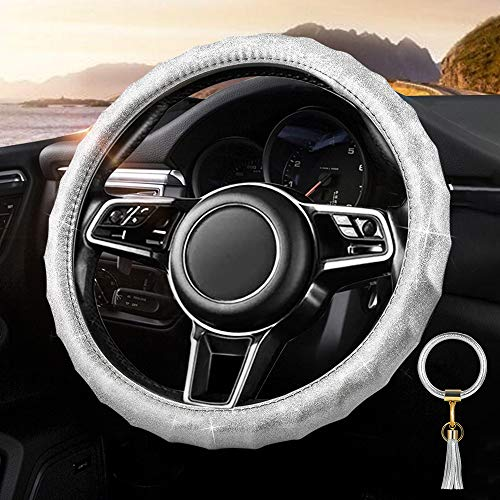 Tsumbay Car Steering Wheel Cover with Keychain Bracelets for Women Girls Sparkling Leather Auto Steering Cover Bling Accessories Anti-Slip Wheel Protector,A Set with Wristlet Bangle Key Ring-Sliver