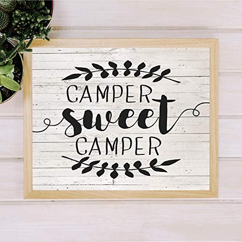 NSRJDSYT Camper Sweet Camper Sign Vintage Posters and Prints Farmhouse Wood Wall Art Canvas Painting Wall Picture Rustic Home Art Decor-50x70cm Frameless