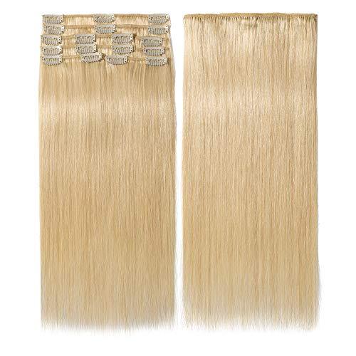 Clip In Extensions Echthaar 100% Remy DOUBLE DRAWN Haarverlängerung 8 Tressen Dick zum Ende Glatt 40cm - 90g - Hellblond #613