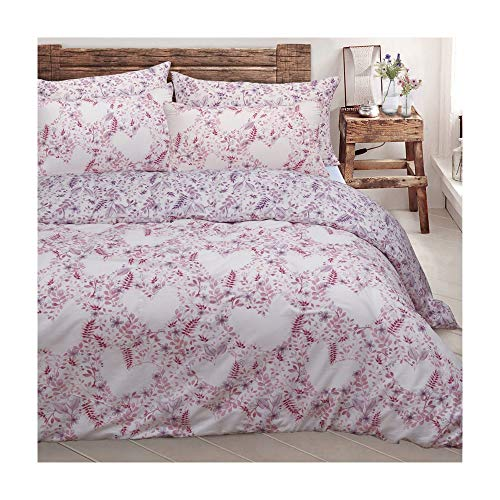 Duvet Cover Set King Size with Pillowcases Quilt Reversible Poly Cotton, Leafy Love Pink
