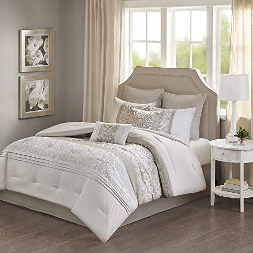 510 DESIGN Ramsey 8 Piece Embroidered Bedding Comforter Set for Bedroom, Queen, Neutral