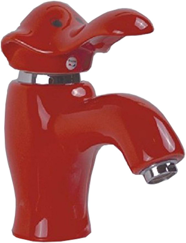 Bijjaladeva Wasserhahn Bad Wasserfall Mischbatterie Waschbecken Waschtisch Armatur für BadKeramik Hahn Cartoon Farbe Elefant Wasserhahn Warmes und Kaltes Becken aus Kupfer Rot