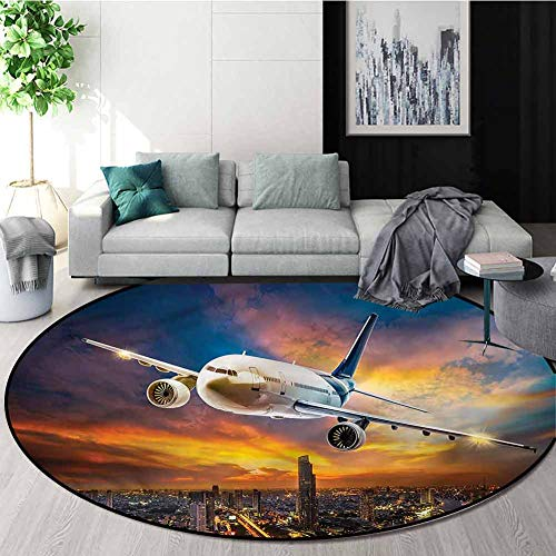 Review Of RUGSMAT Travel Computer Chair Floor Mat,Night Scene with Plane Door Mat Indoors Bathroom M...