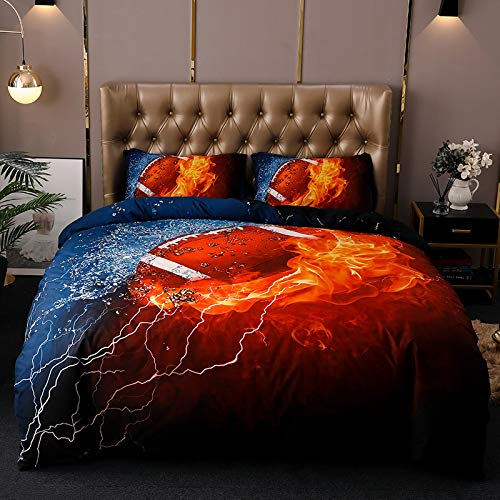 wide smile 3D Duvet Cover Set Single Size Sports Rugby Bedding Set Teen Bedding Home Dormitory Bedroom, 135x200cm