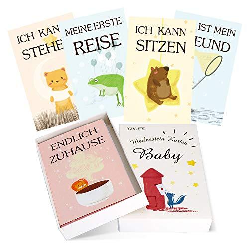 YZNlife 45 Meilensteinkarten, Milestone Cards Babykarten Meilenstein Karten Erinnerungen-Karten, Baby-Fotokarten Meilensteine-Geschenk Monatskarten, Geschenk zur Taufe, Babyparty, Schwangerschaft
