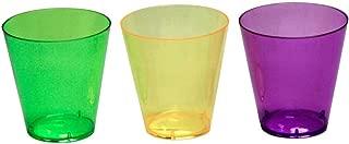 Party Essentials Hard Plastic Shot Glasses, 2-Ounce, Mardi Gras Mix, Box of 60