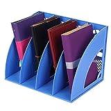 Revistero Revistero carpeta documentos periódicos libros plana para oficina casa Escuela sujetalibros de plástico Organizador de escritorio revistero soporte para libros, color Azul