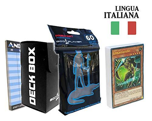 Andycards Starter Deck Attacco Link - Mazzo Yugioh YS17 in Italiano + 60 Bustine Protettive God-Player Nere + Deck Box Nero + Segnapunti