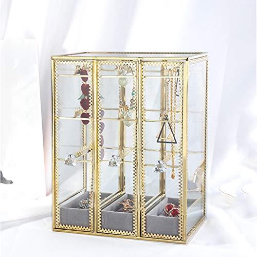 Xinxinchaoshi Cajas para Joyas Joyería Pendiente de Cristal Caja de Almacenamiento del Soporte de exhibición del sostenedor del Organizador del cajón con 3 Vertical Joyero