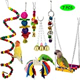 ZERIRA Combination Bird Parrot Toys, Bird Hanging Shredding Swing Chew Toys Funny Swing Ball Bell Standing Training Toys for Parakeets Cockatiels, Conures, Macaw, Parrot