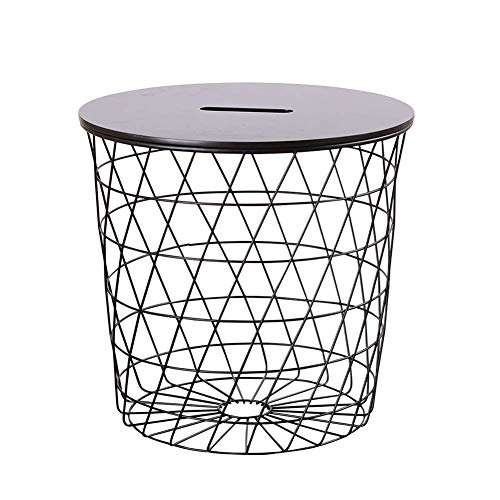 FACAIA Black Geometric Iron Metal Wire Round Tray Top Storage Side Table Basket Modern Metal Coffee End Side Table - 44X42CM