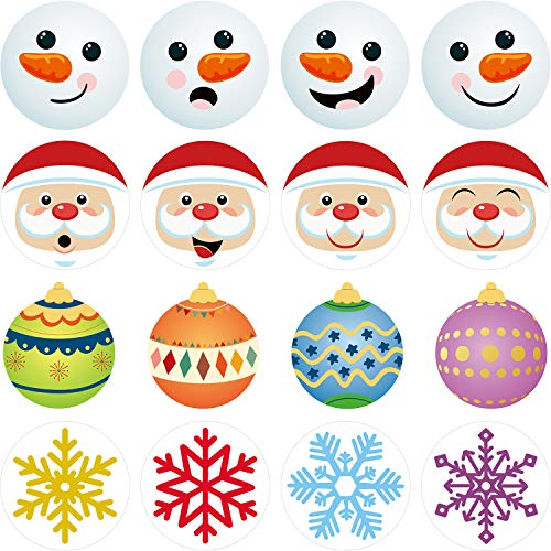 288 Pieces Christmas Stickers Round Xmas Elements Label Stickers Decals with Santa Claus Snowman Snowflake Christmas Ball Designs for Seals Cards Gifts
