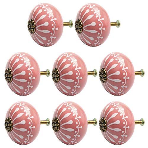 YeVhear - Juego de 8 pomos de cerámica vintage con tirador de tirador, tirador para muebles de oficina, armario, cajonera decorativa, color rosa