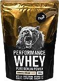 nu3 Performance Whey Protein Cookies & Cream - 1kg de proteina de suero en polvo - Con 74.3% de proteína whey - Con aminoácidos BCAAs + proteína aislada (isolate) - Batido proteico altamente soluble