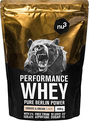 nu3 Performance Whey Protein Cookies & Cream - 1kg de proteina de suero en polvo - 74.3% de proteína whey - Con aminoácidos BCAAs + proteína aislada (isolate) - Batido proteico altamente soluble