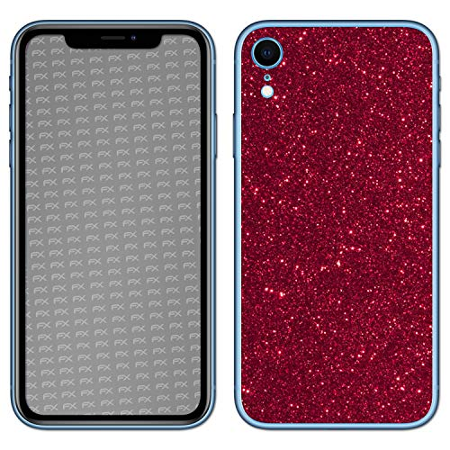 atFolix Skin kompatibel mit Apple iPhone XR, Designfolie Sticker (FX-Glitter-Ruby-Red), Reflektierende Glitzerfolie