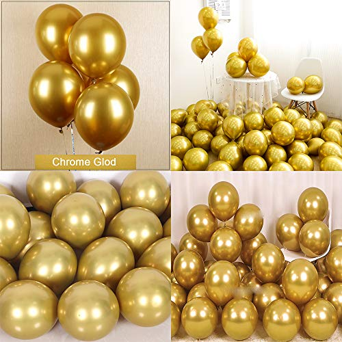 Chrome Metallic Balloons for Party 50 pcs 12 inch Thick Latex balloons for Birthday Wedding Engagement Anniversary Festival Picnic Family Party Decorations-Gold