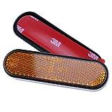 2 x Gabel-Reflektor gelb abgerundet Ø-50mm 90x24mm selbstklebend Katzenauge Roller Quad E-geprüft