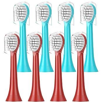 ITECHNIK Replacement Brush Heads for Philips Sonicare HX6032/94 HX6340 HX6321 HX6330,HX6331 HX6320 HX6034 Kids Standard Blue 4 pcs Red 4 pcs 8 Count