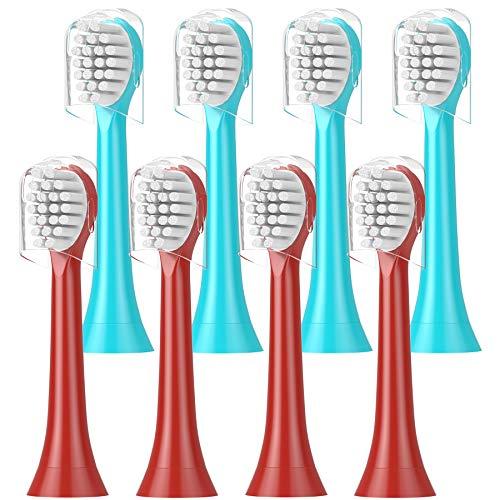 ITECHNIK Kids Aufsteckbürsten, Kompatible mit Philips Sonicare Kind HX6034/33 Ersatzbürsten, weiche Borsten für eine behutsame Reinigung, 8er Pack, 4er türkis, 4 Rot