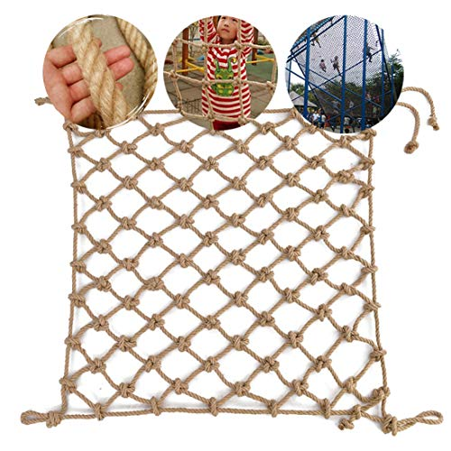 HUANPIN Climbing Frame Net Rope Ladder Protection Net,Adults Heavy Duty Netting Balcony Banister Stair Safety Fence Decor Mesh Nets Dia 14 mm 15 cm Children Safety Net,1 * 3m(3.3 * 10ft)