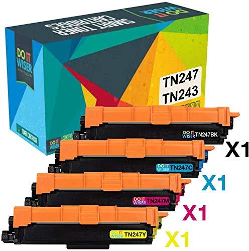 Do it wiser TN247 TN243 Cartucho de Tóner Compatible con Brother HL-L3210CW HL-L3230CDW HL-L3270CDW MFC-L3750CDW MFC-L3710CW MFC-L3770CDW DCP-L3550CDW DCP-L3510CDW (Negro Cian Magenta Amarillo)