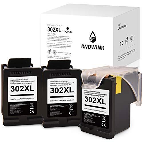 KNOWINK 302XL Compatibile con HP 302XL cartuccia d'inchiostro per HP Envy 4520 4525 4524 4527 HP Officejet 3833 4658 3834 3830 3831 HP Deskjet 3630 2130 3636 1110 3633 (3 nero)