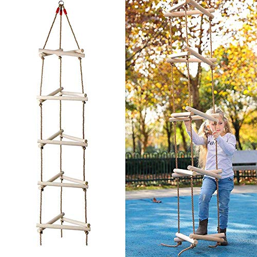 Het beklimmen van Touwladder Swing, 3D-5 stappen Driehoek Houten Climbing Ladder Garden Toy Grote Crawling Double Touwladder klimrek Muur Tree Swing