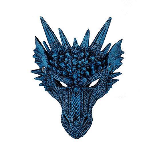 Sanhai Schablonen-Party 3D Drache Cosplay Maske Karneval Maske für Halloween-Party-Karneval,Blau