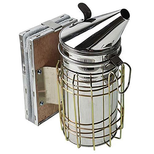 AISENPARTS Ahumador de colmenas de abejas ahumador de colmenas de acero inoxidable equipo de apicultura con escudo térmico