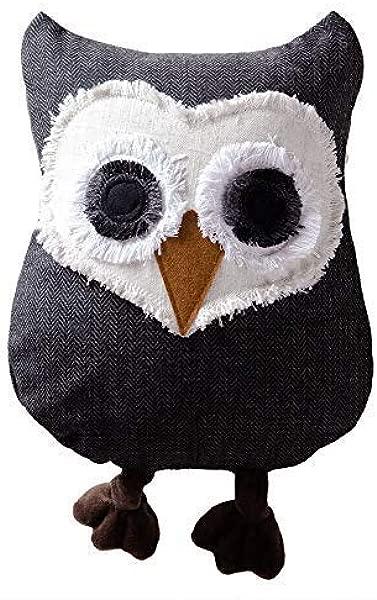 JWH 3D Handmade Owl Accent Pillow Applique Decorative Cushion Home Sofa Car Chair Bed Living Room Stuffed Plush Toy Girl Gift Dark Gray