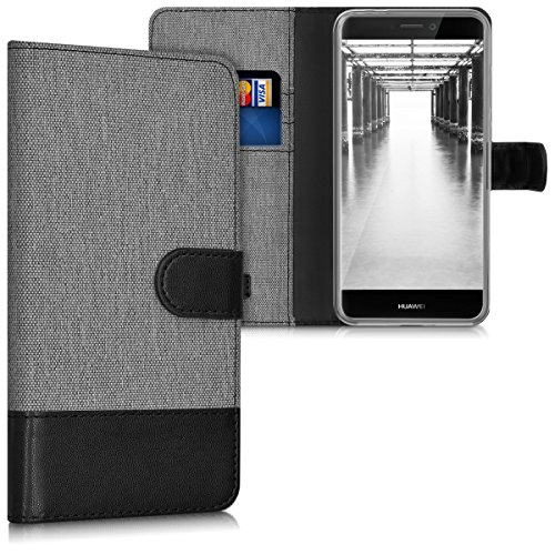 kwmobile Funda Compatible con Huawei P8 Lite (2017) - Carcasa de Tela y Cuero sintético Tarjetero Gris/Negro