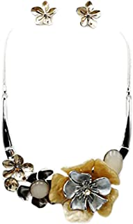 """Rosemarie & Jubalee Women's Stunning Enamel and Lucite 3D Flower Collar Necklace and Earrings Jewelry Gift Set, 14""""-17.5"""" ..."""