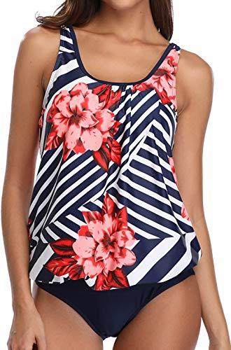 Yonique Blouson Tankini Swimsuits for Women Modest Bathing Suits Two Piece Loose Fit Swimwear Blue Floral XL