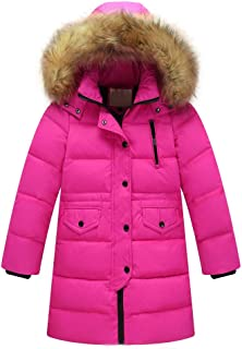 Kids Girls Winter Warm Faux Fur Hooded Parka Thick Down Coat Puffer Jacket Padded Overcoat 6M-4T