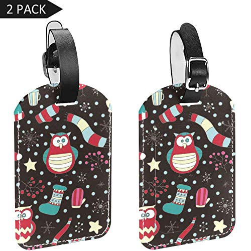 Luggage Tags Owl and Winter Scarf Sock Leather Travel Suitcase Labels 2 Packs