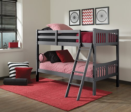 Storkcraft Caribou Solid Hardwood Twin Bunk Bed Gray Twin Bunk Beds for Kids with Ladder and Safety Rail