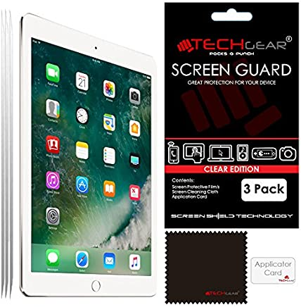 "TECHGEAR [Pack of 3] Screen Protectors for New iPad 9.7"" (2018/2017) - Clear Screen Protector Guard Cover with Cloth & Applicator Card, Compatible with Apple iPad 6th Gen & 5th Gen"